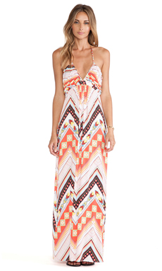 T-Bags LosAngeles Halter Maxi Dress in Red Western Geometric