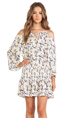 T-Bags LosAngeles Cold Shoulder Dress in Yellow Floral