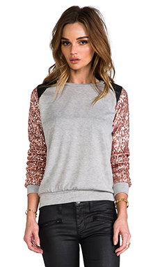 T-Bags LosAngeles Embellished Sleeve Sweater in Grey