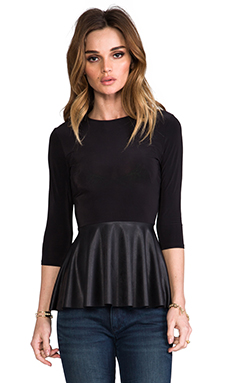T-Bags Los Angeles Peplum Top in Black