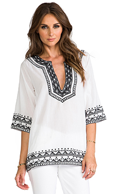 T-Bags LosAngeles Boho 3/4 Sleeve Top in White