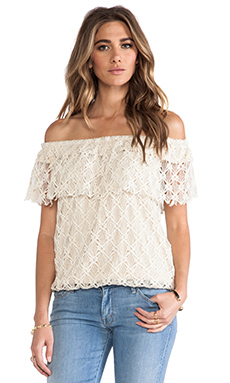 T-Bags LosAngeles Off The Shoulder Lace Top in Natural