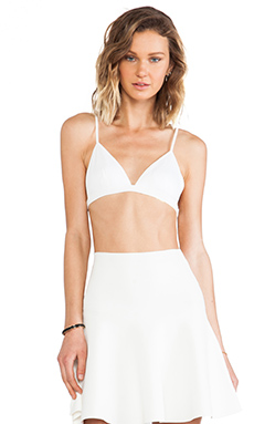 T by Alexander Wang Lux Ponte Triangle Bra in White