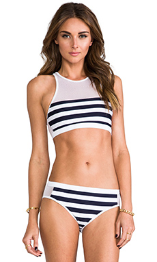 STRIPE MESH COMBO CREW TOP
