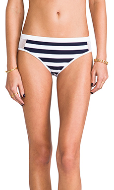 T by Alexander Wang Stripe Mesh Combo Bottom in Ink & White