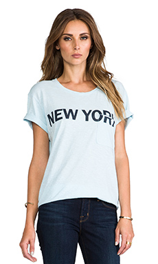 TEXTILE Elizabeth and James New York Bowery Tee in Sky Blue/Navy
