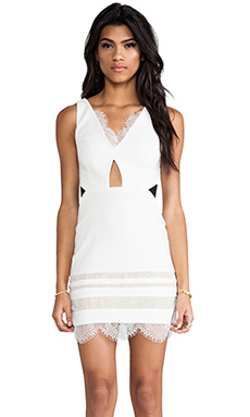 Three Floor White Isle Dress in White & Black