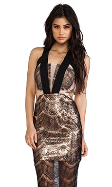 Three Floor Behaviour Self Dress in Rose Gold & Black & Nude
