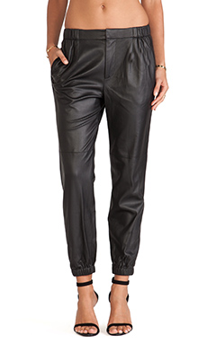 Thakoon Addition Perforated Leather Joggers in Black