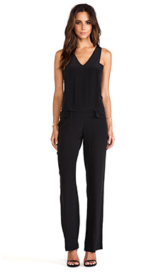 Thakoon Addition V Neck Layered Jumpsuit en Noir
