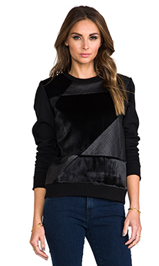 Theory Grant Park Saybrook Calf Hair Sweater in Black