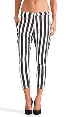 BEHATI x thvm Stripe Zip Trouser in Black & White