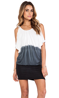 Tiare Hawaii Angie Dress in White & Grey & Black Ombre