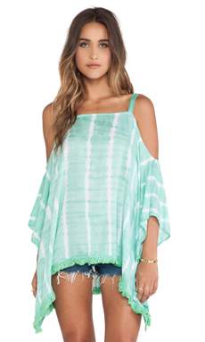 Tiare Hawaii Poncho Top in Teal & White Vert
