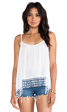 Tiare Hawaii Dara Tank with Fringe in White