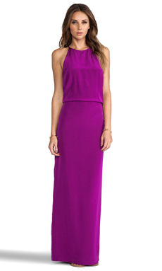 Tibi Silk Halter Dress in Boysenberry