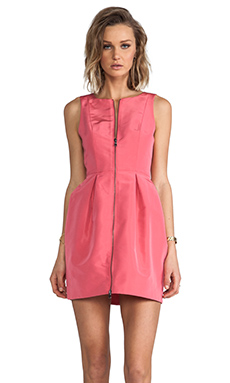 Tibi Silk Faille Sleeveless Dress in Flamingo Pink