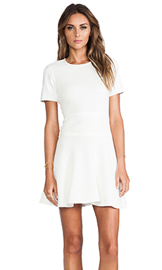 Tibi Vika Crochet Short Sleeve Flirty Dress in Ivory