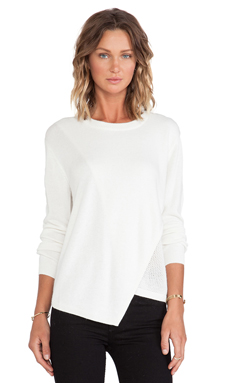 Tibi Melange Fine Gauge Sweater in Cream