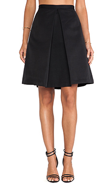 Tibi Katia Faille Skirt in Black
