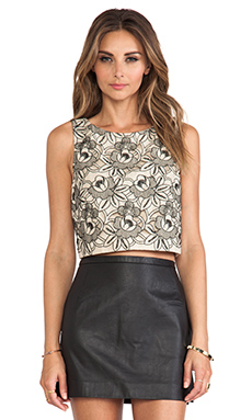 Tibi Embroidery Eyelet Tank in Bisque Multi