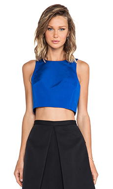 Tibi Katia Faille Crop Tank in Electric Blue