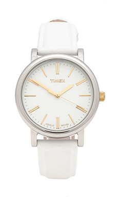 Timex Originals Classic Round Lux Petite in Silver & Gold & White