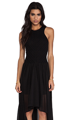Torn by Ronny Kobo Renea Knit Chiffon Dress in Black