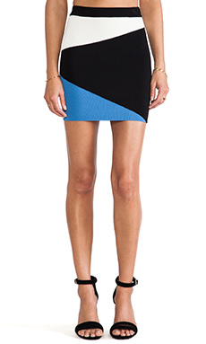 Torn by Ronny Kobo Mali Color Block Skirt in Blue & Black