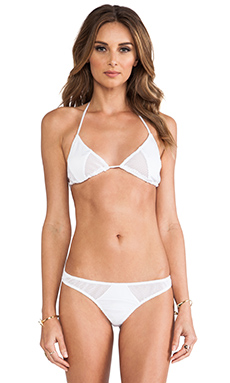 Tyler Rose Swimwear Jarret Cutout Mesh Triangle Top in White