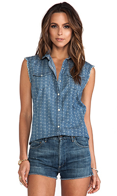 True Religion Sleeveless New Georgia Woven Shirt in Blue Geo