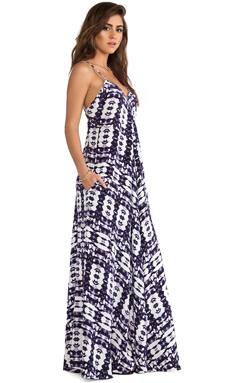 Twelfth Street By Cynthia Vincent Braided Strap Maxi Dress in Shibori Ink