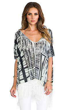 Twelfth Street By Cynthia Vincent Oversized Fringe Sweater in White