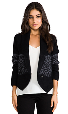 Twelfth Street By Cynthia Vincent Boiled Wool Cardigan in Black
