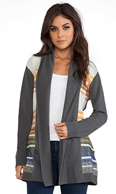 Twelfth Street By Cynthia Vincent Knit Stripe Log Cabin Cardigan in Multi