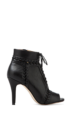 Twelfth Street By Cynthia Vincent Magan Lace Up Peep Toe Bootie in Black