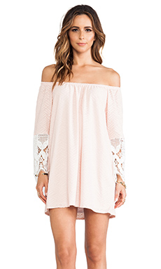 VAVA by Joy Han Caitlyn Off Shoulder Dress in Peach