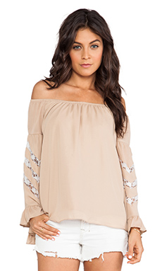VAVA by Joy Han Miranda Off Shoulder Top in Taupe