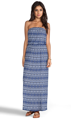 Velvet Aztec Stripe Glory Dress in Blue