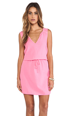 Velvet by Graham & Spencer Dot Cotton Slub Dress in Pink Lemonade