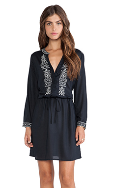 Velvet by Graham & Spencer Inas Embroidered Rayon Challis Dress in Black