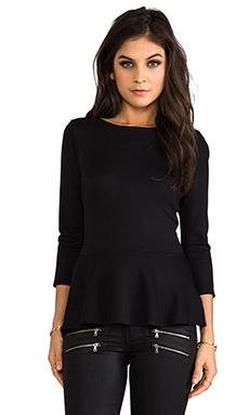 Velvet by Graham & Spencer T-shirt péplum en maille interlock en Noir