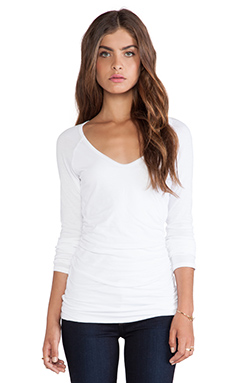 Velvet by Graham & Spencer Amora Gauzy Whisper Classic Long Sleeve in White