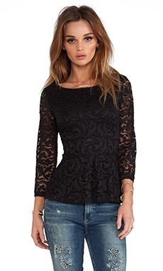 Velvet by Graham & Spencer x REVOLVE Renata Lace Peplum Top in Black