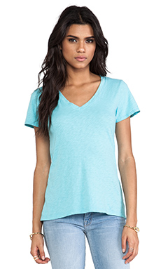 Velvet by Graham & Spencer Lilith Cotton Slub Tee in Aqua