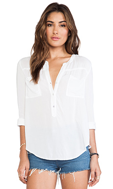 Velvet by Graham & Spencer Nyssa Rayon Challis Buttondown Top in White