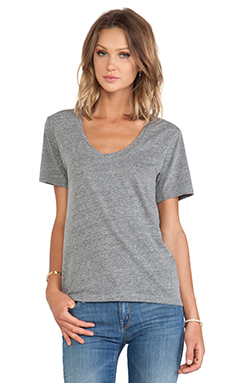 Velvet by Graham & Spencer Albie Heather Grey Knit V Neck in Grey