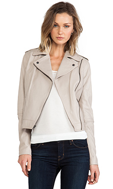 Vince Vintage Leather Moto Jacket in Grain