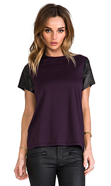 Vince Leather Sleeve Tee in Blackberry