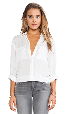 Vince Long Sleeve Button Up Shirt in White